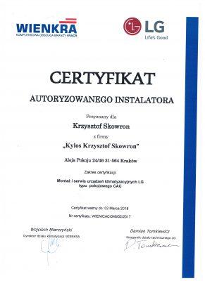 Certyfikat LG RAC