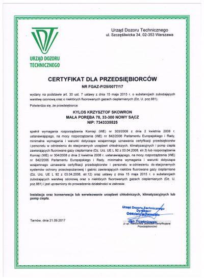 certyfikat dla przedsiębiorców UDT