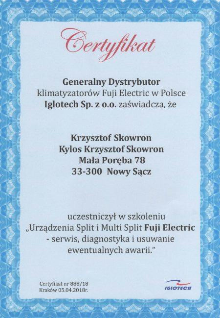 Certyfikat Fuji Electric