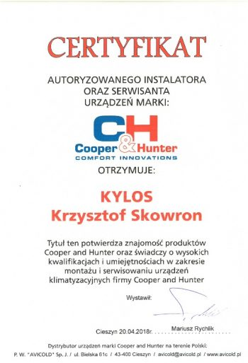 certyfikat Cooper&Hunter